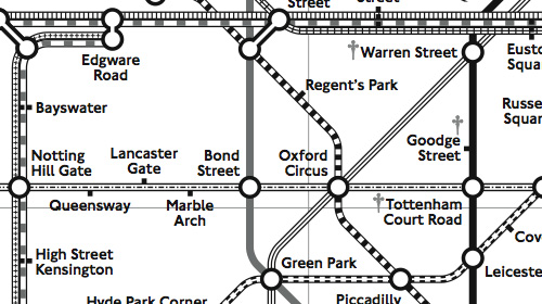 地下鉄路線図の表示例(模様による区別)