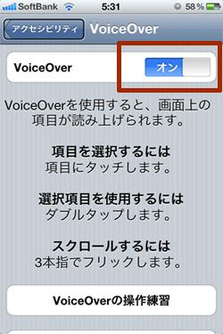 VoiceOver をオンに切り替え