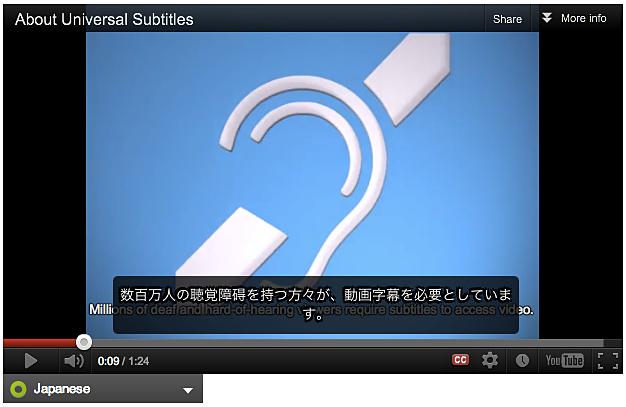 キャプションが付けられた YouTube ビデオの例