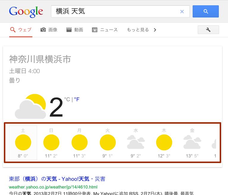iPad の Google 検索 (天気予報表示)