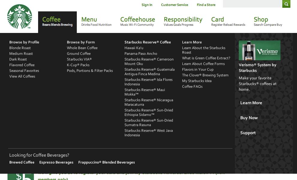 メガドロップダウンメニューの例 (Starbucks Coffee)