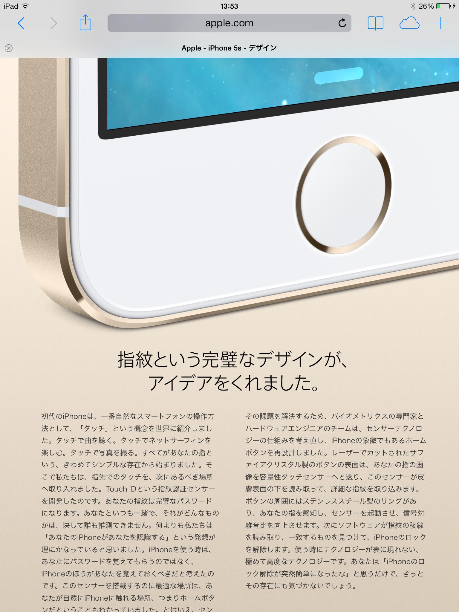 iPad の Safari におけるタイトル (ページタブ) 表示