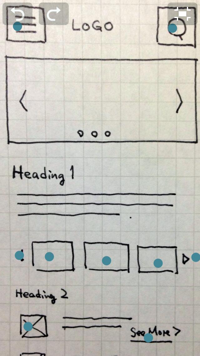 ペーパープロトタイプの上で「fat finger」を可視化した例