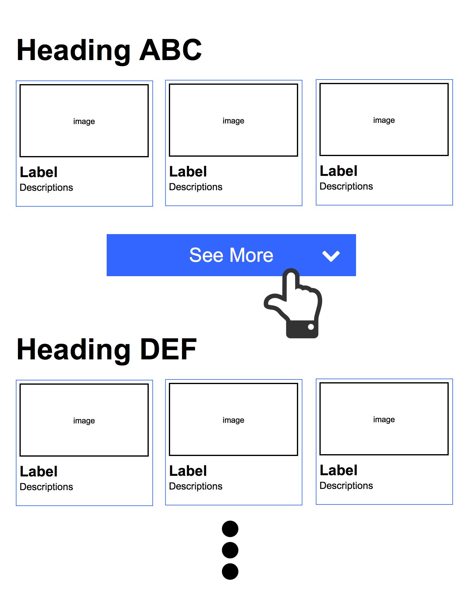 「もっと見る」ボタンによるインレイ表示の例 (ボタン押下前)
