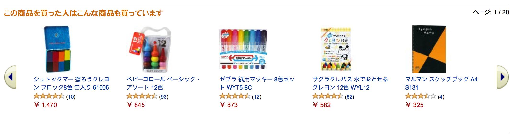 Amazon (amazon.co.jp) における「この商品を買った人はこんな商品も買っています」のカルーセル