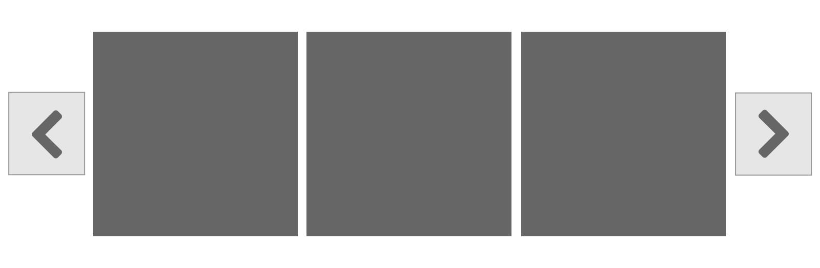 カルーセルのコントロールの例 (左右矢じりのアイコンと、何枚中何枚目かを示すドット。)