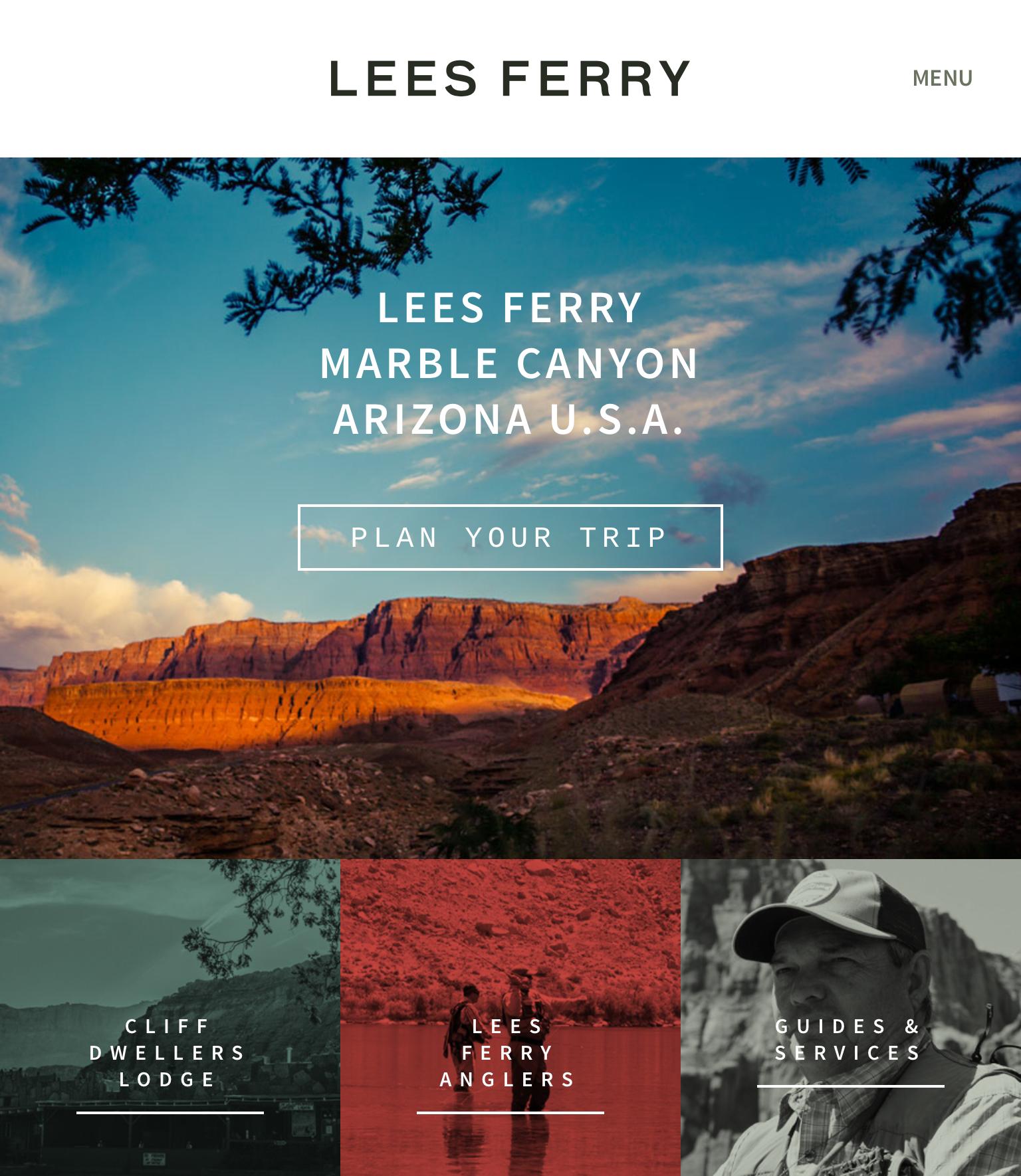 ゴーストボタンの例 (Lees Ferry のウェブサイト)
