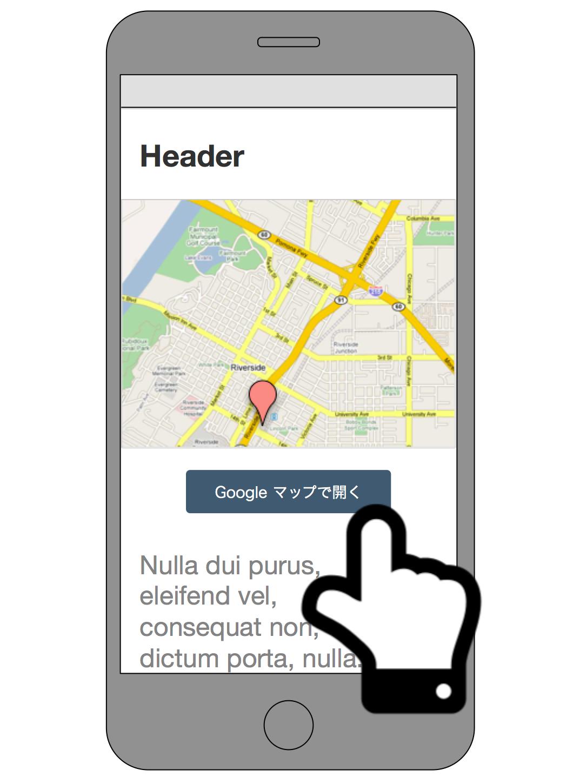 画像化した地図と Google マップ URL へのリンクを配置したページ