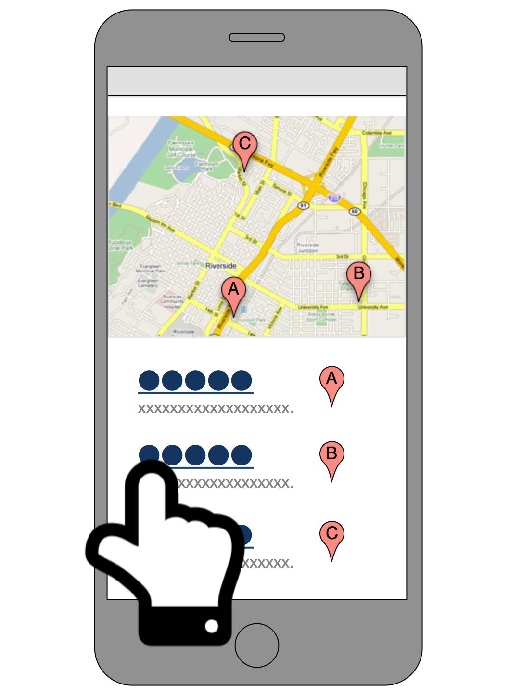 画像化した地図 (複数のマーカーを含む) と Google マップ URL へのリンク (目的地ごとに) を配置したページ