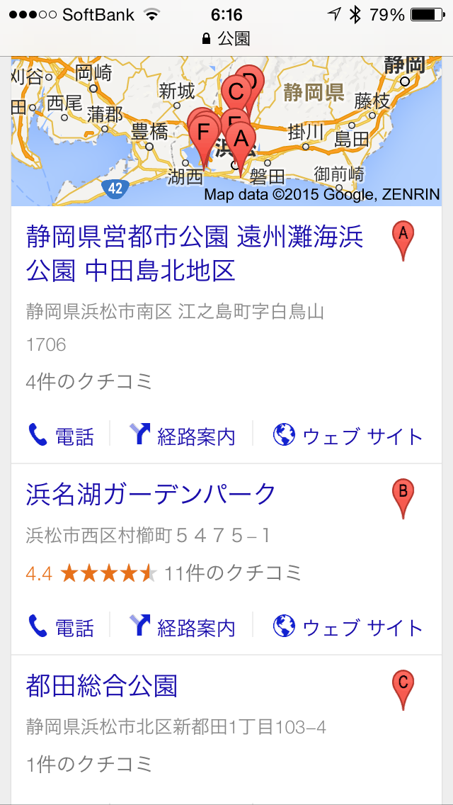 Google 検索の SERP 表示例