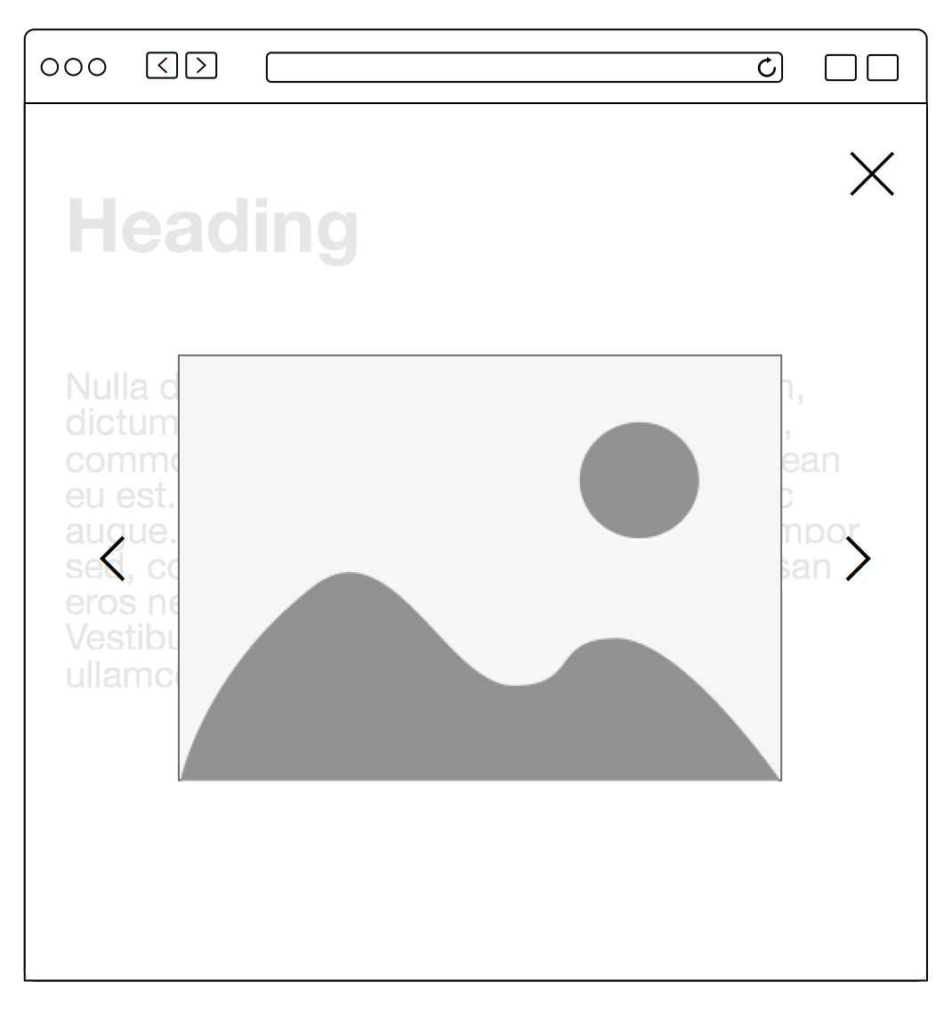モーダルウィンドウの中に画像切り替え機能が加わったイメージ。