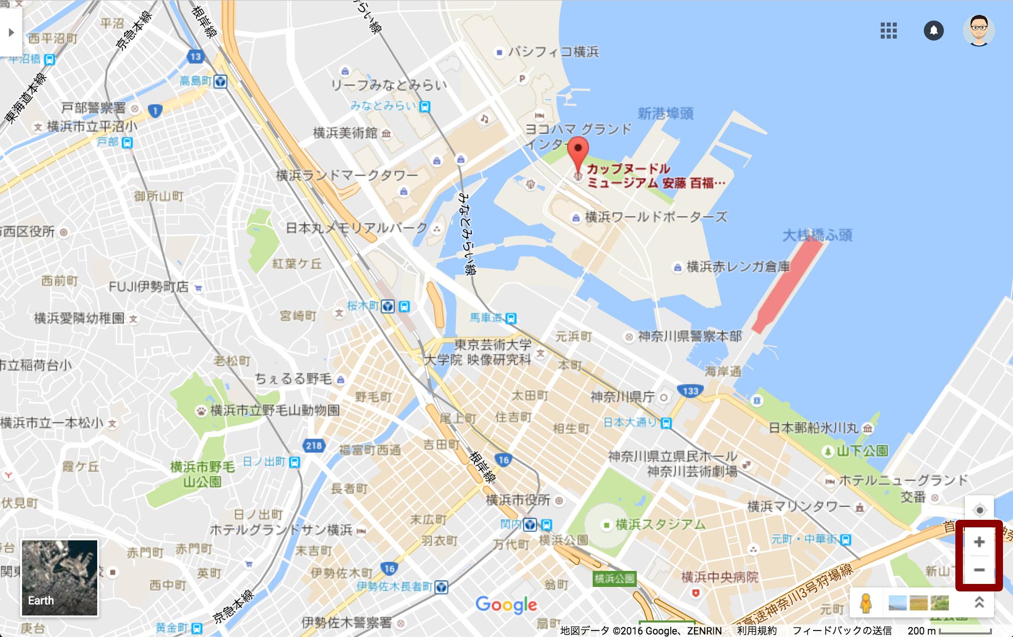 Google マップのズーム機能