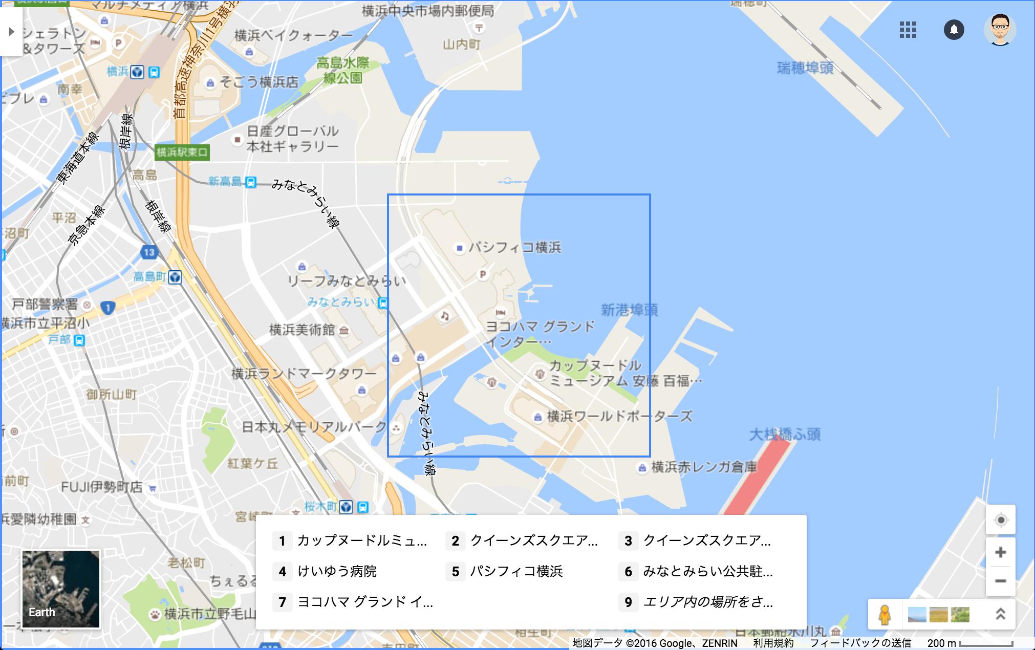 Google マップのパン