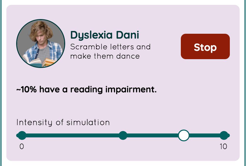 Dyslexia Dani の画面