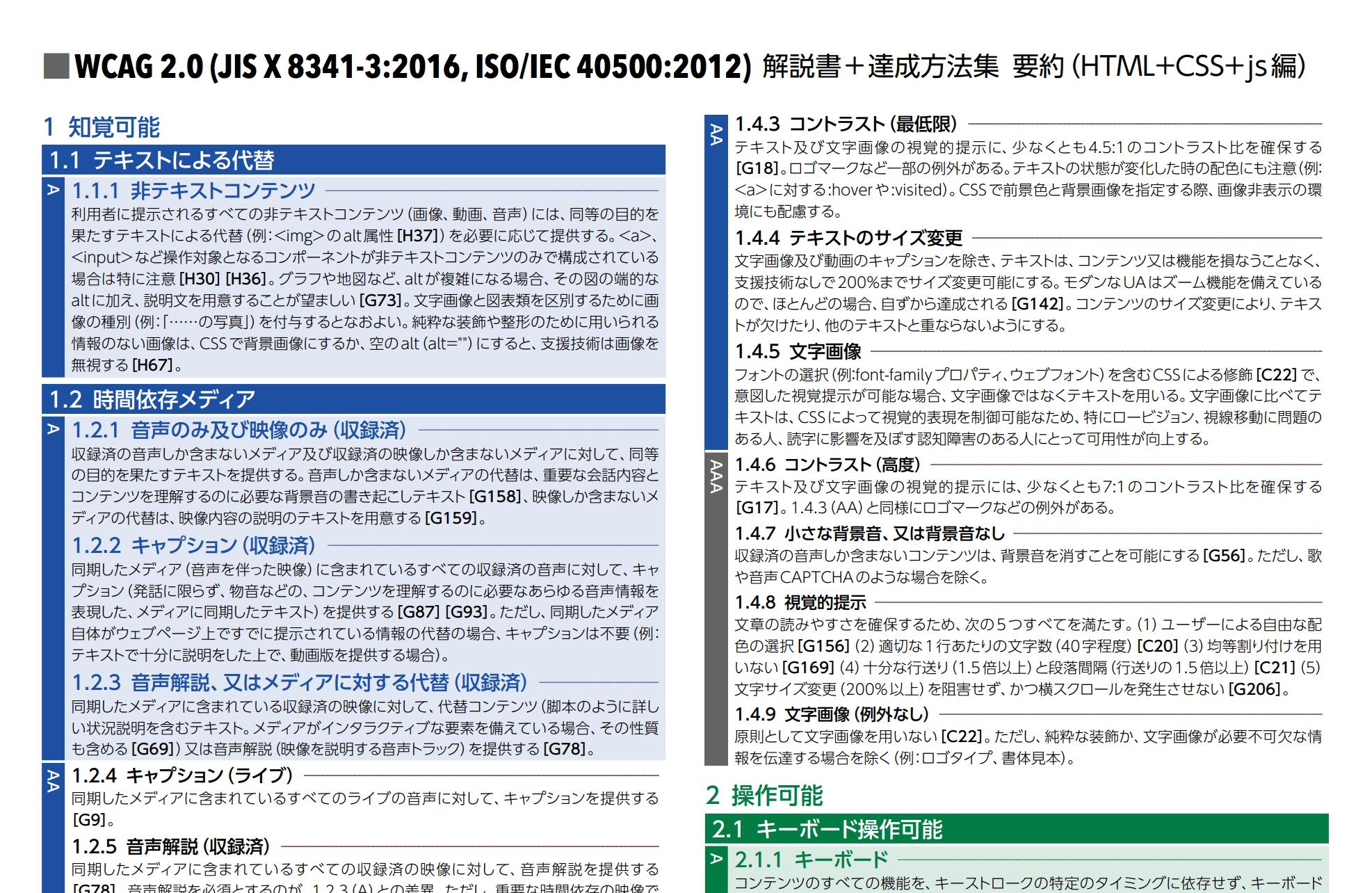 時代工房「WCAG 2.0 解説書+達成方法集 要約」